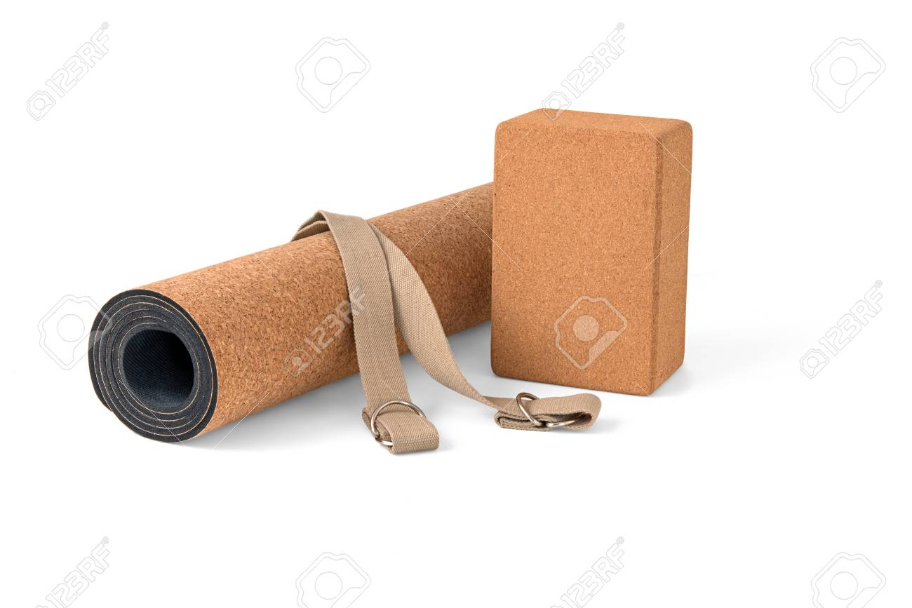 Cork Yoga Mat, Block With Strap, Premium Eco Friendly Product on White Background - 76049651