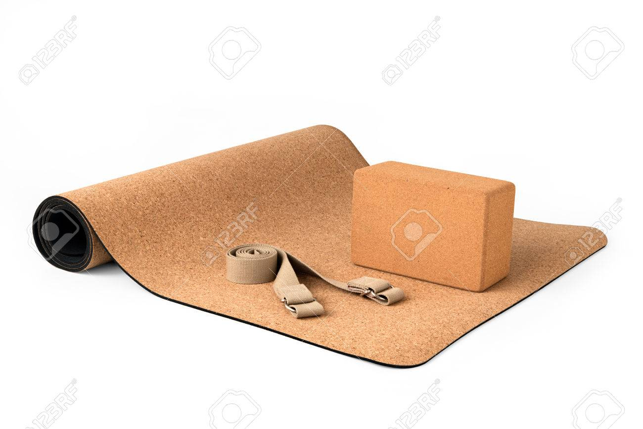 Cork Yoga Mat Set With Cork Block and Strap, Premium Eco Friendly Product on White Background - 76049648