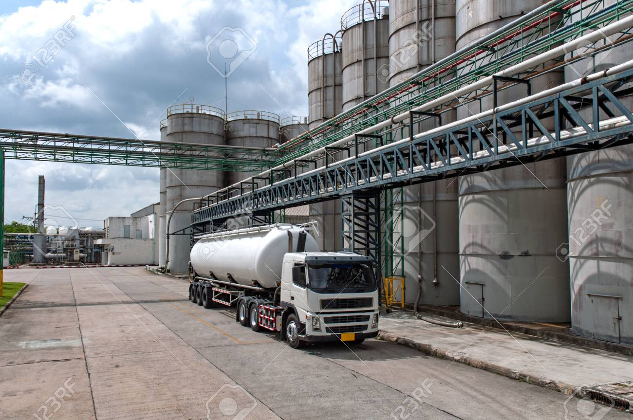 Truck, Tanker Chemical Delivery in Petrochemical Plant in Asia - 104403837