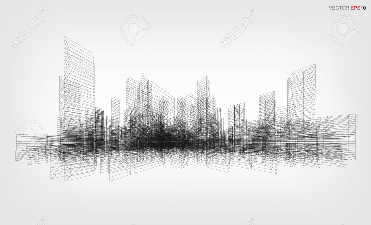 Perspective 3D render of building wireframe. Vector wireframe city background of a building. - 90166144