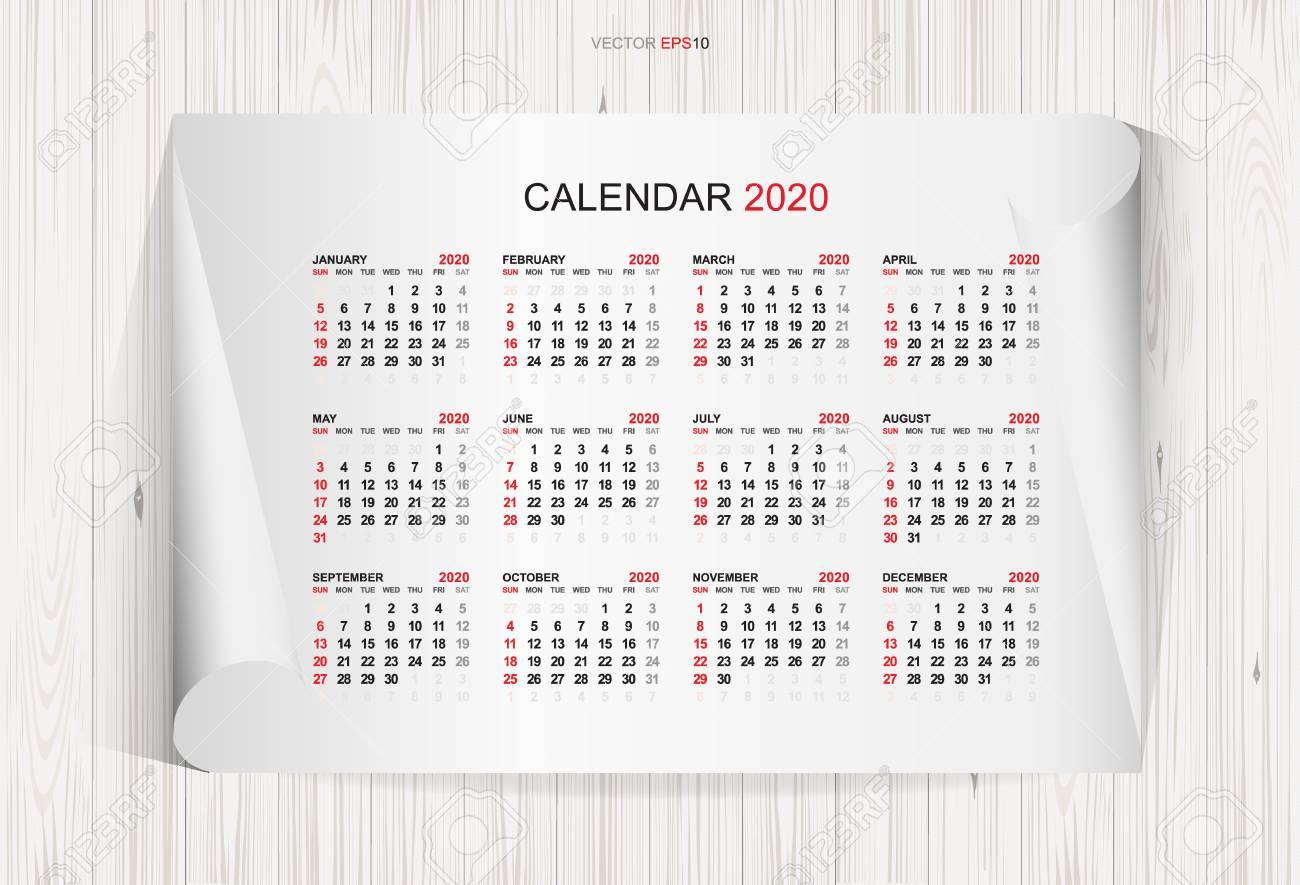 Settimane Calendario 2020.Calendario 2020 Anni Su Carta Bianca E Priorita Bassa Di Struttura In Legno La Settimana Inizia Da Domenica Idea Illustrazione Vettoriale