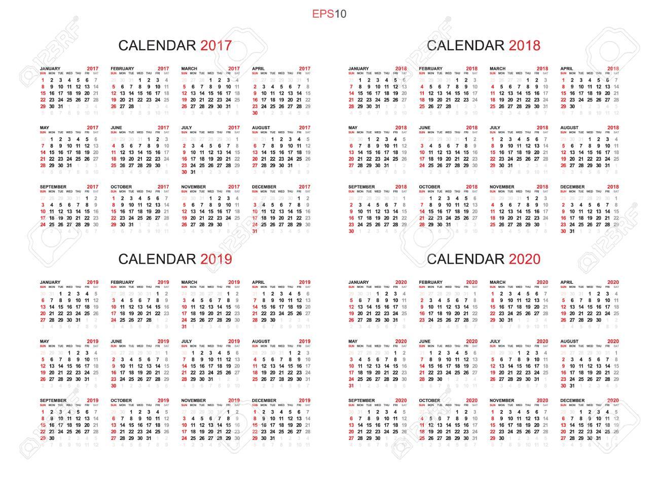 Template Calendrier 2019.Calendar 2017 2018 2019 And 2020 Calendar Background Set