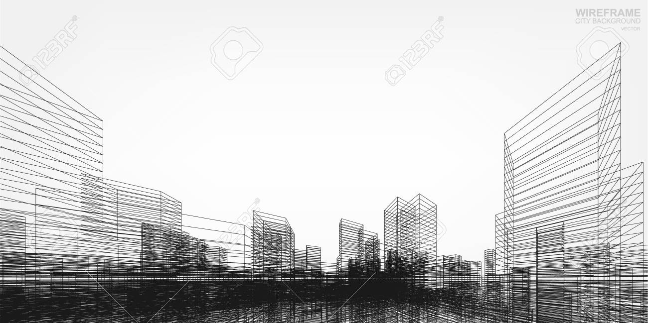 perspective 3d render of building wireframe vector wireframe