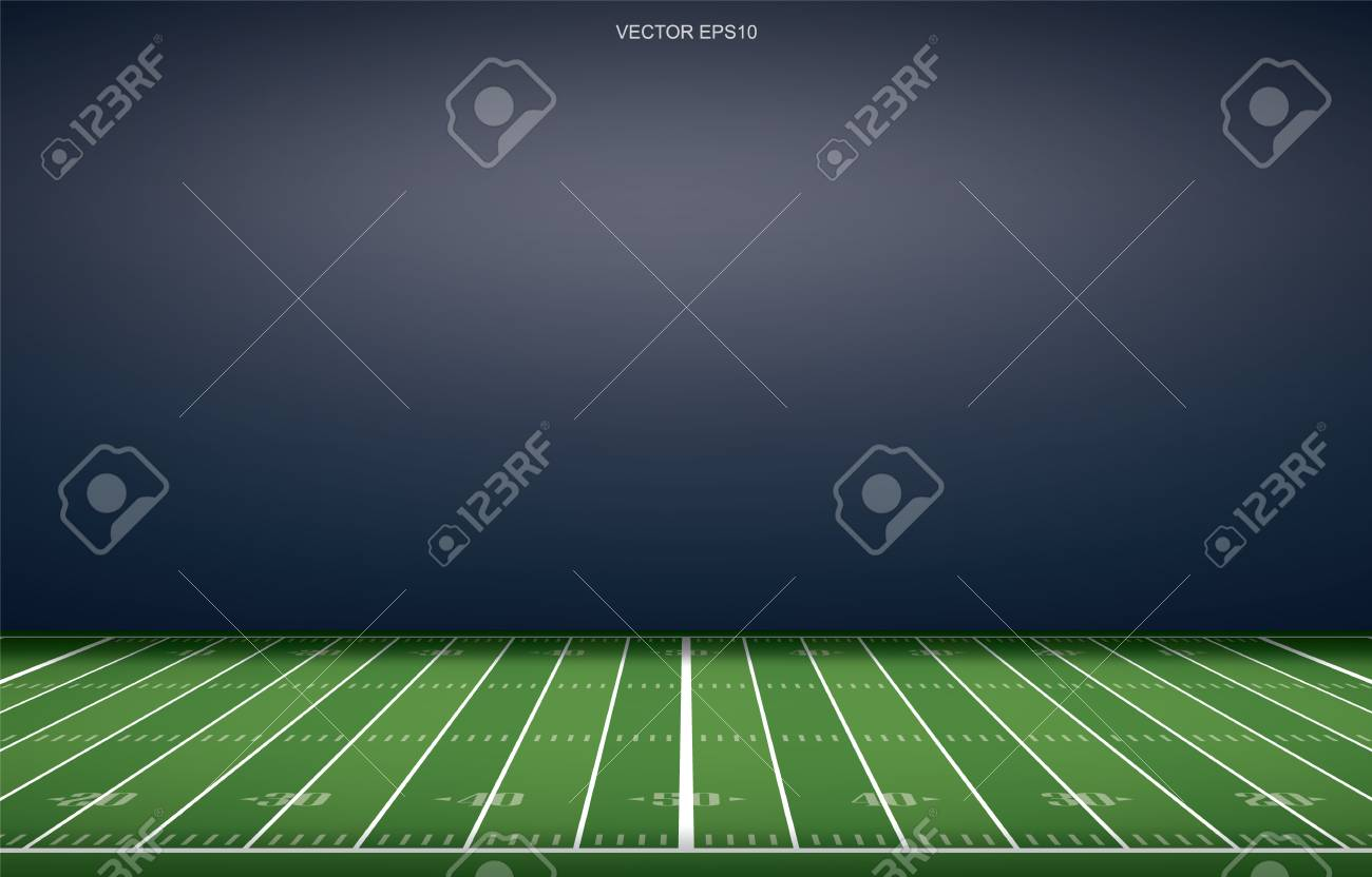 American football stadium background with perspective line pattern of grass field. Vector illustration. - 112129254