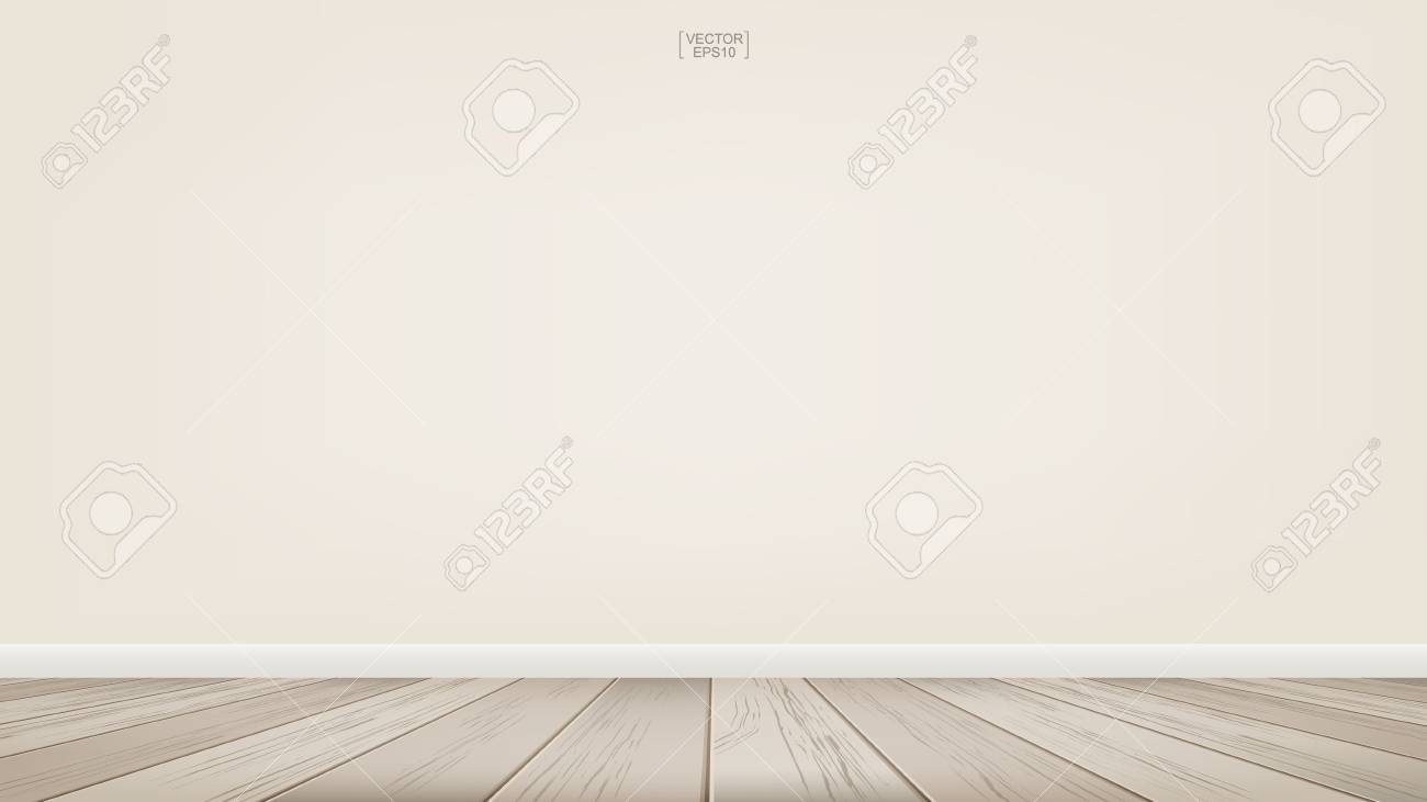 Empty room space background with wooden floor. Vector illustration. - 108100251