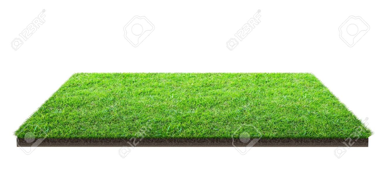 Green grass field isolated on white with clipping path. Sports field. Summer team games. Exercise and recreation place. - 121650882