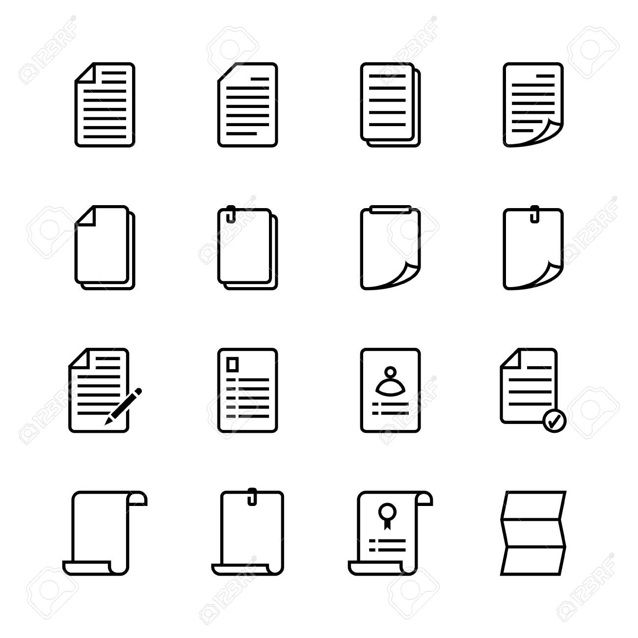 Paper sheet icon set. Line icon style. Vector illustration. - 149988868