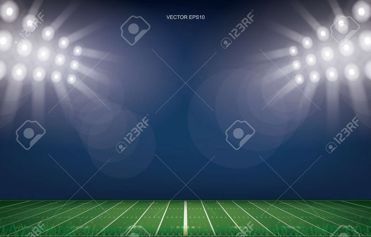American football field stadium background. With perspective line pattern of american football field. Vector illustration. - 156045818