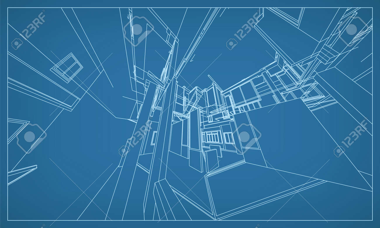 3D perspective render of building wireframe structure. Abstract construction graphic idea. Vector illustration. - 155940382