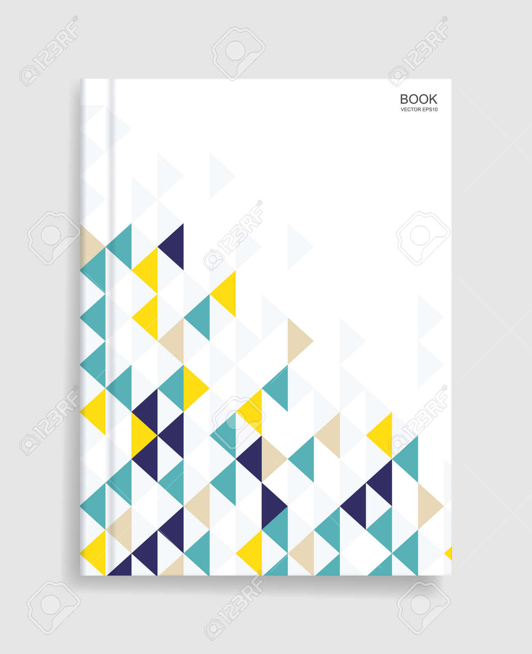 Magazine book template background with cover of colorful geometric pattern and soft shadow. Vector illustration. - 155940867