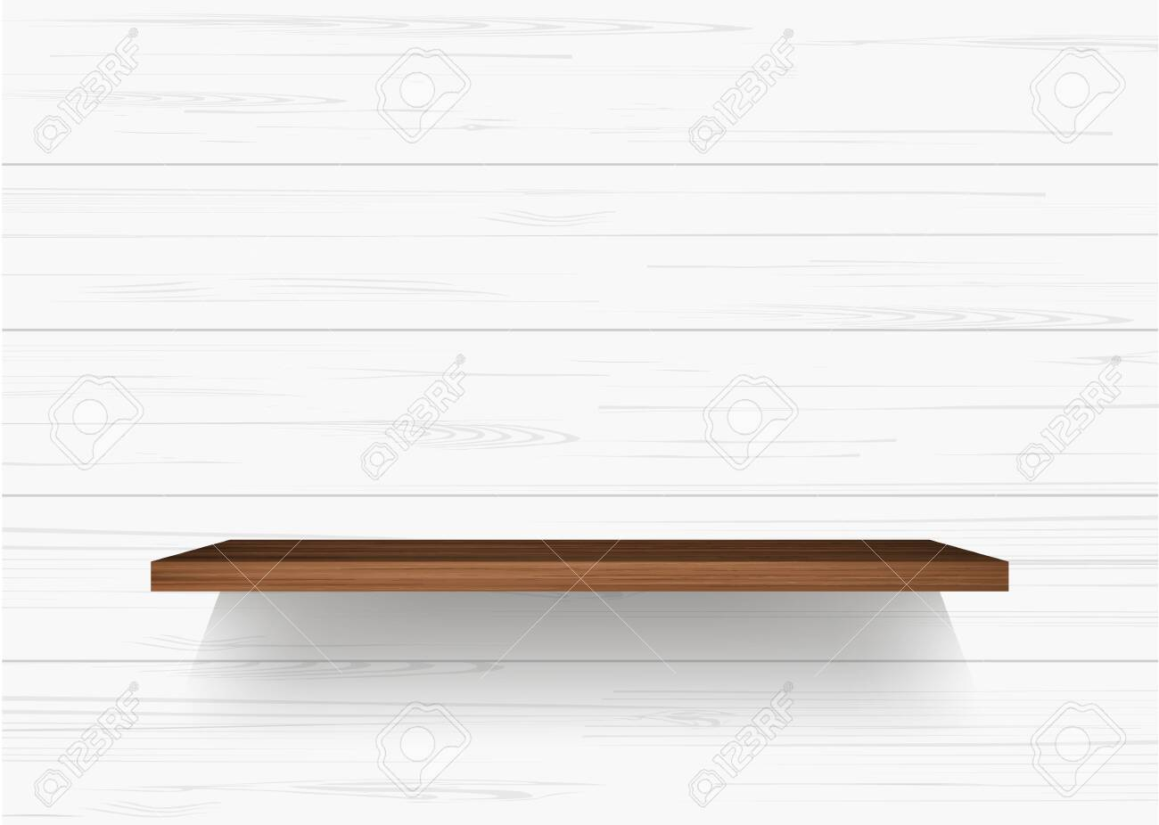 Wooden shelf on white wooden wall background with soft shadow. Vector illustration. - 156186279
