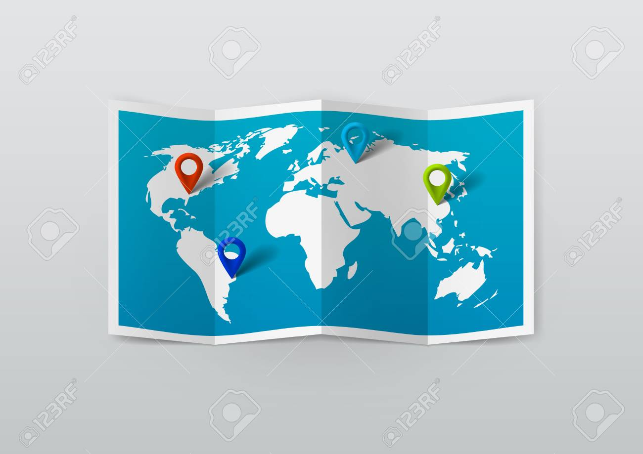 realistic world map with tag pins eps10 vector royalty free