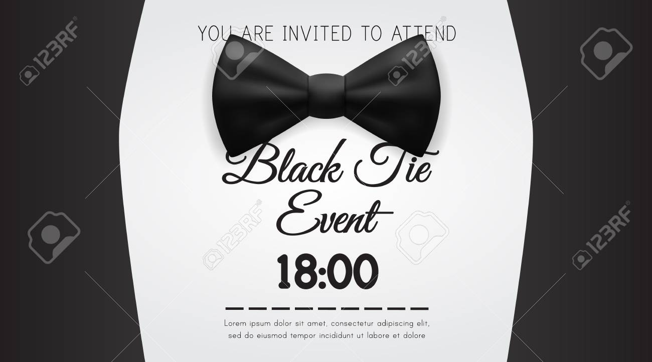 Business Card Elegant Black Tie Event Invitation Template EPS10