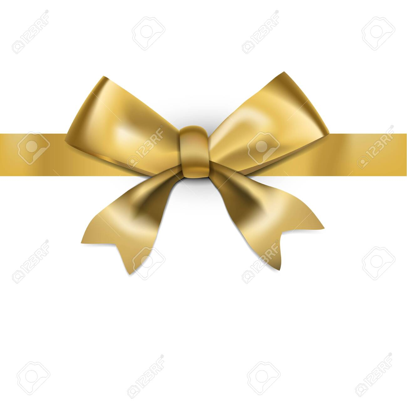 Decorative Golden Bow With Glossy Long Ribbon - 132033185