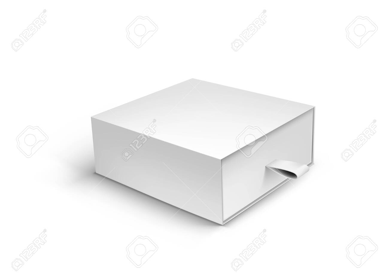 Package Cardboard Ribbon Pull And Slide Drawer Box - 136597046