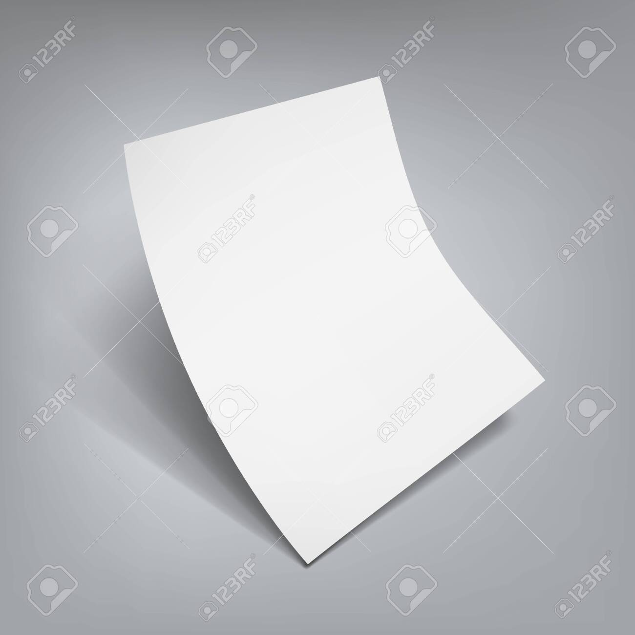White Clear Flying Sheet Of Paper With Shadow - 136968512