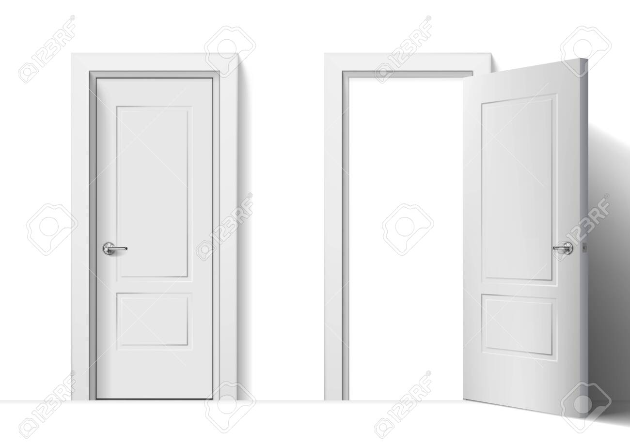 Realistic Open And Closed White Entrance Doors - 136968523