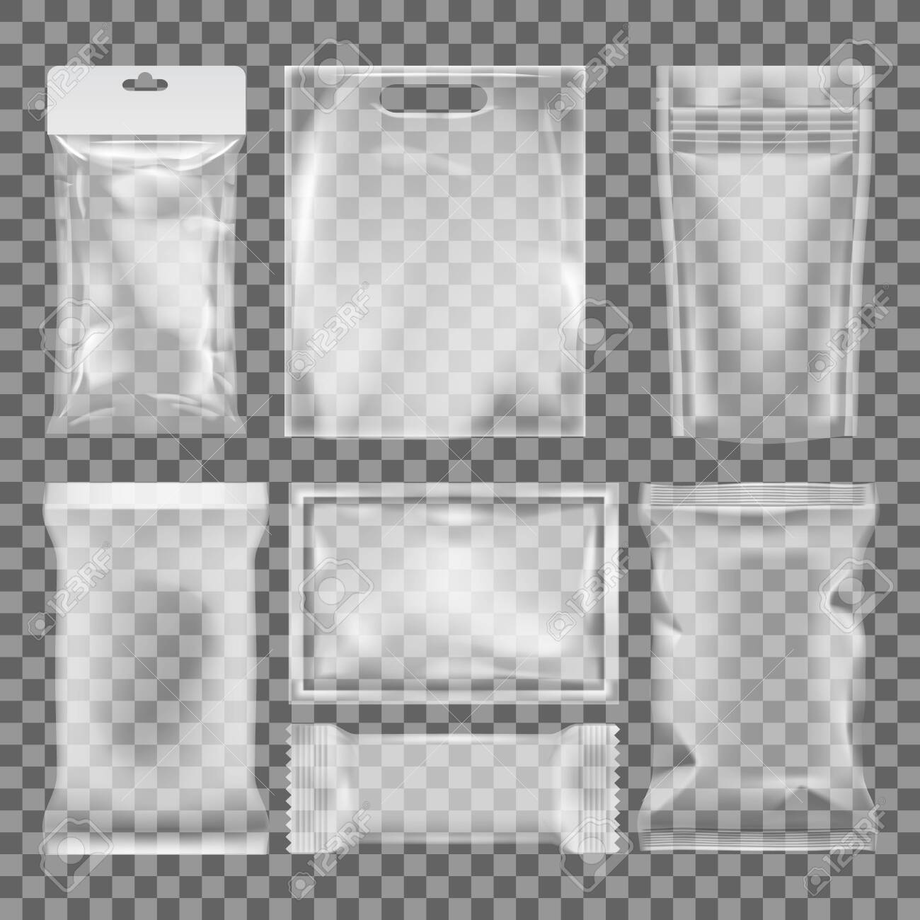 3D Transparent Empty Glossy Plastic Food Packaging - 141125590