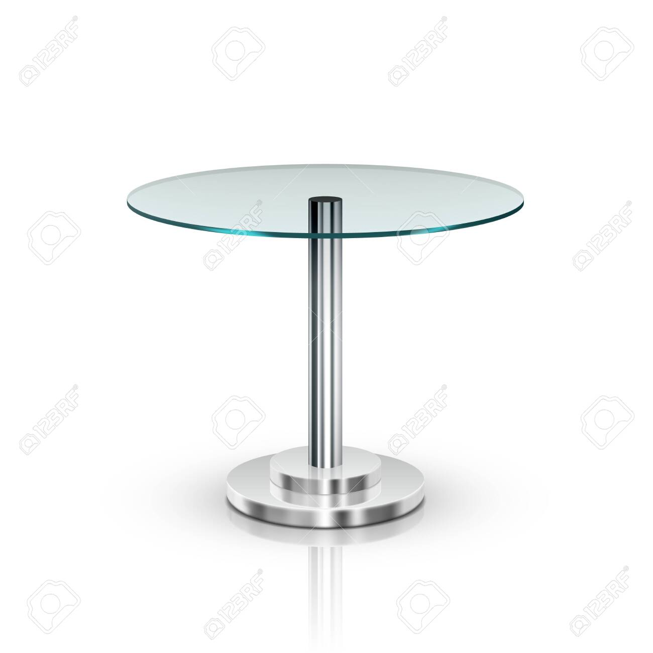 Empty Glass Round Office Table On Metal Leg - 152531370