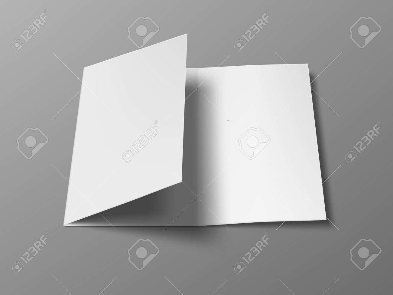3D A4 Three Fold Blank Brochure Template - 169410475