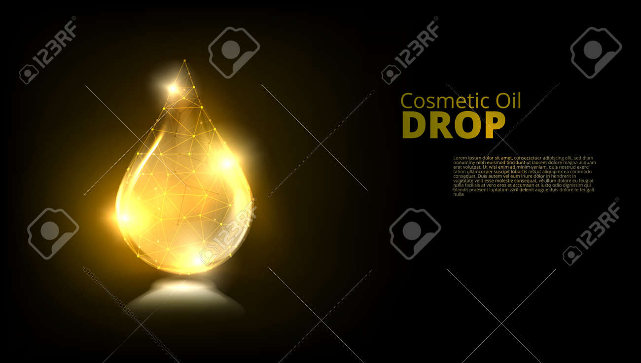 Realistic Gold Glass Drop Of Cosmetic Oil - 169411542