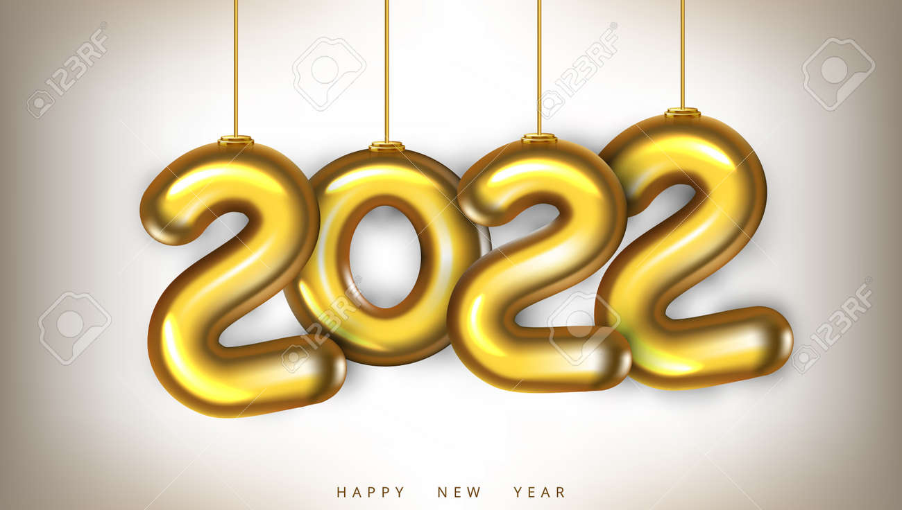3D Gold 2022 Numbers New Year Greeting Card - 169413583