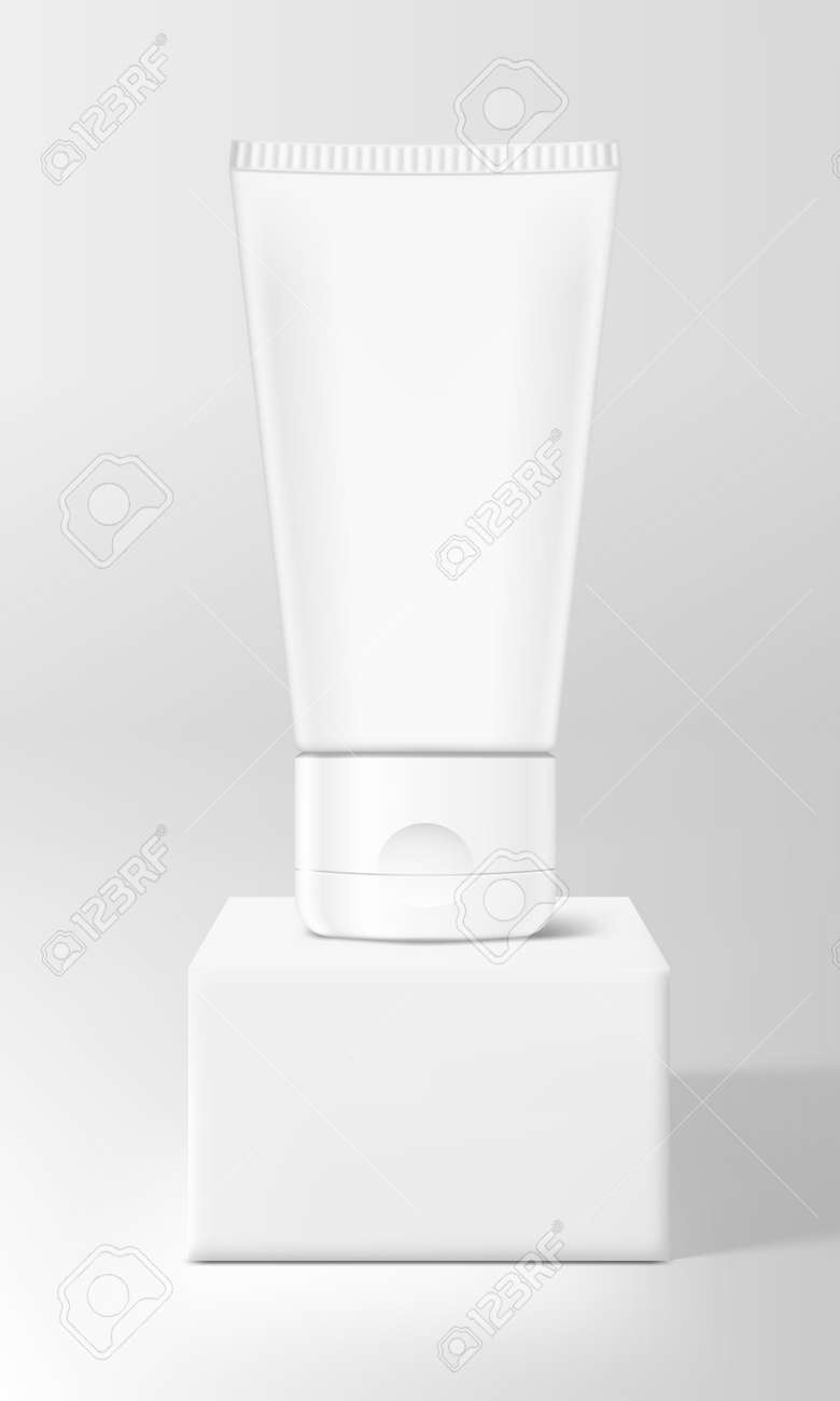 3D Cream Tube On White Square Stage - 169413587