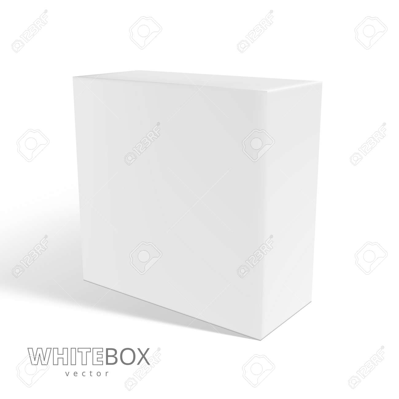 3D White Box With Shadow Isolated On Background - 169413601