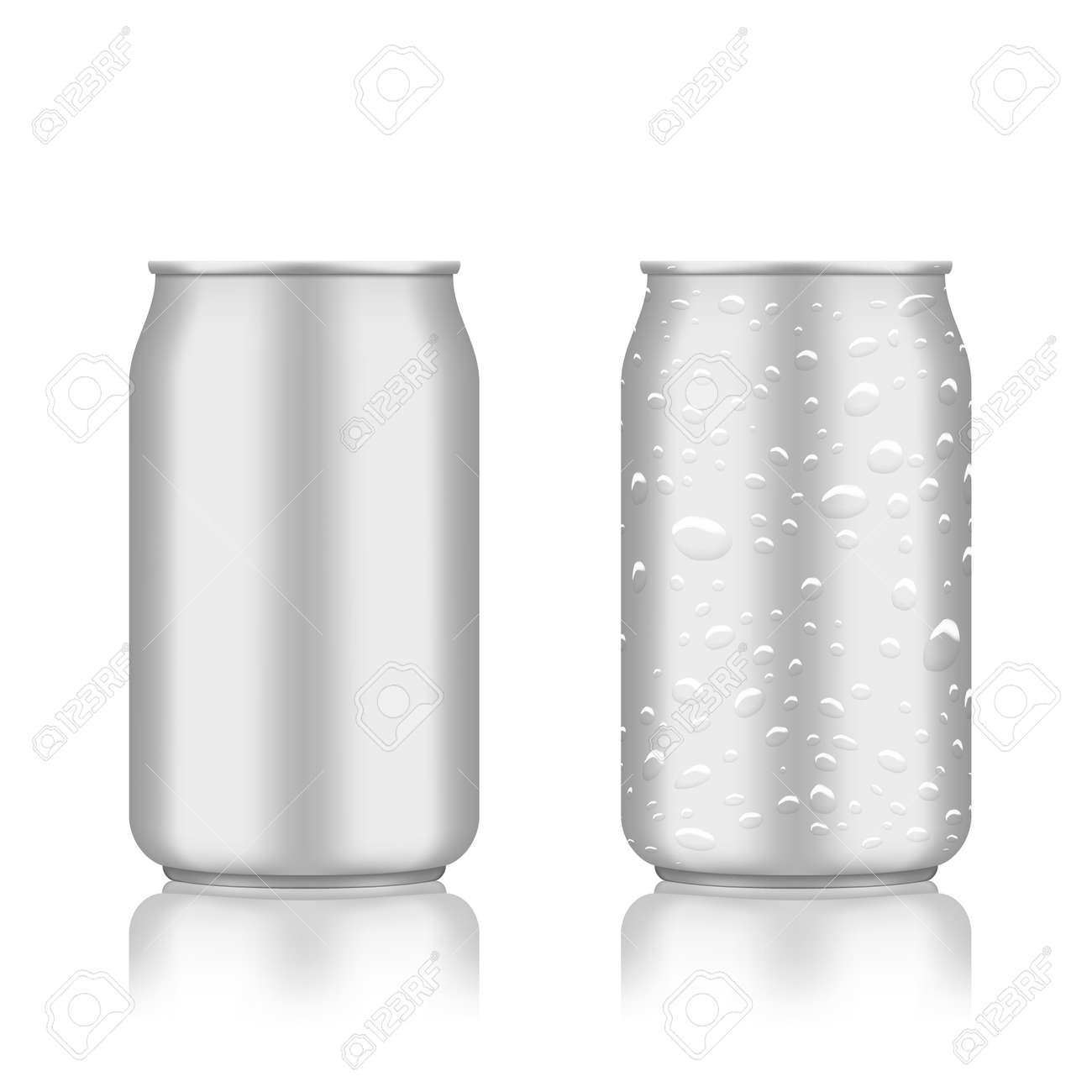 Warm And Cold Clear Aluminum Cans On White - 169413624