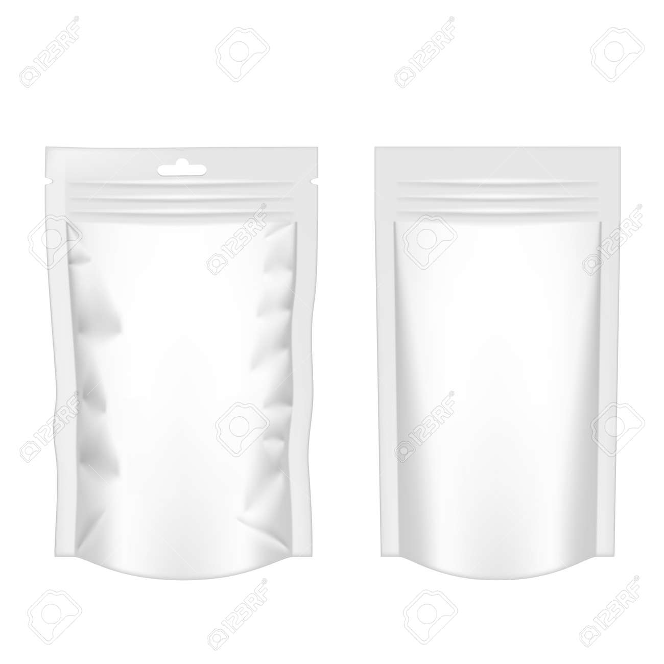 White Pouch Foil Plastic Packaging With Zipper - 169413626