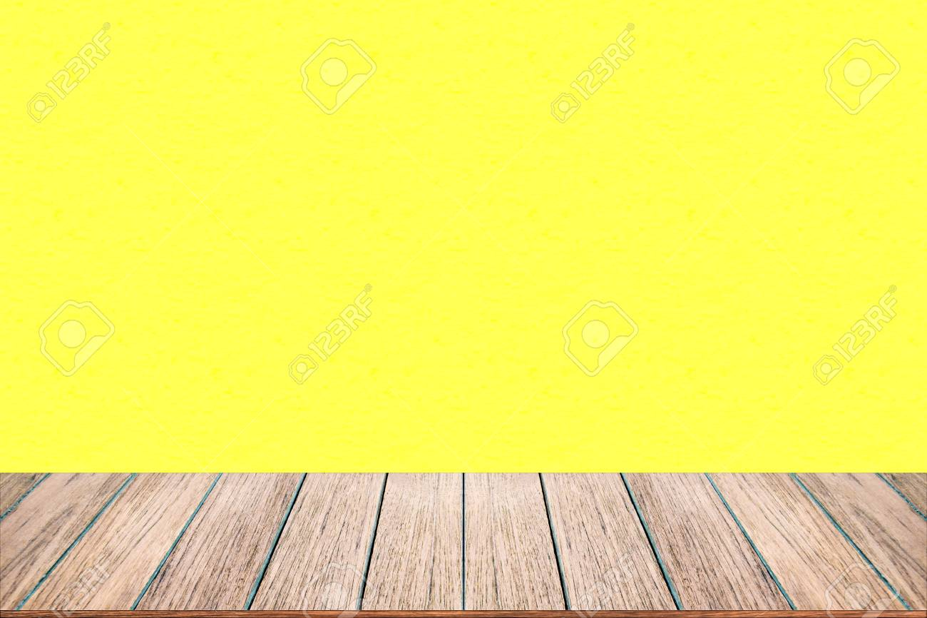 Empty Wood Table Top On Pastel Color Background Perspective Stock