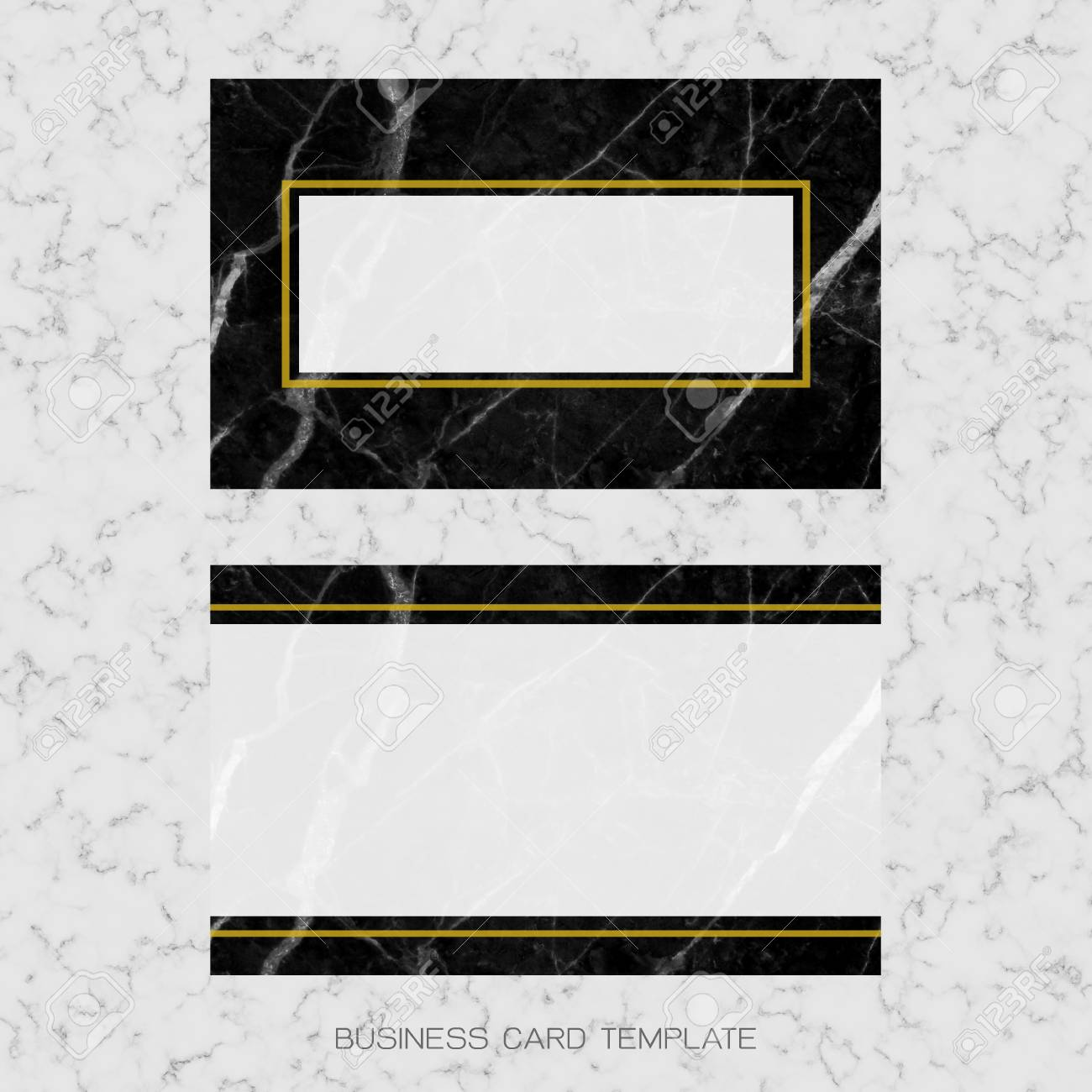 modern business card layout template black and golden marble background for luxury design clipping