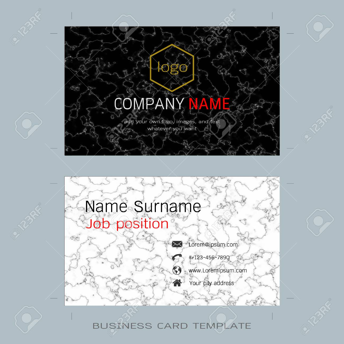 Modern Designer Business Card Layout Templates, Marble Texture ...