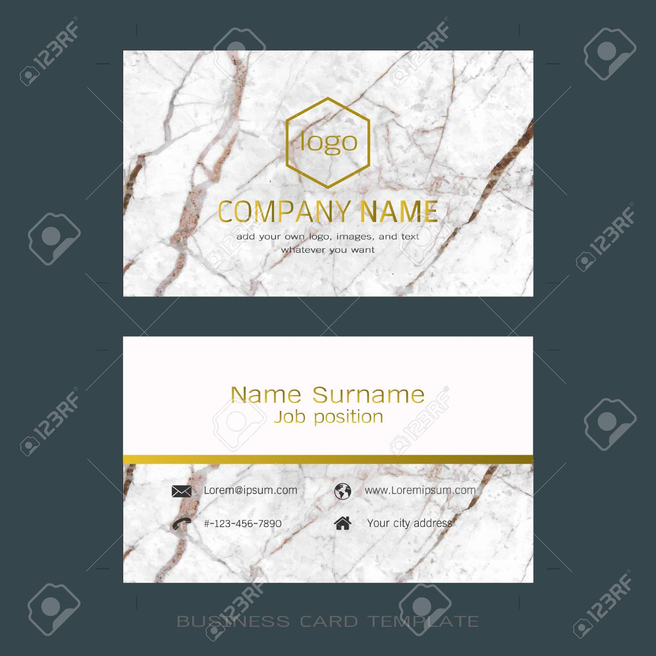 modern designer business card layout templates marble texture background easy to use by print