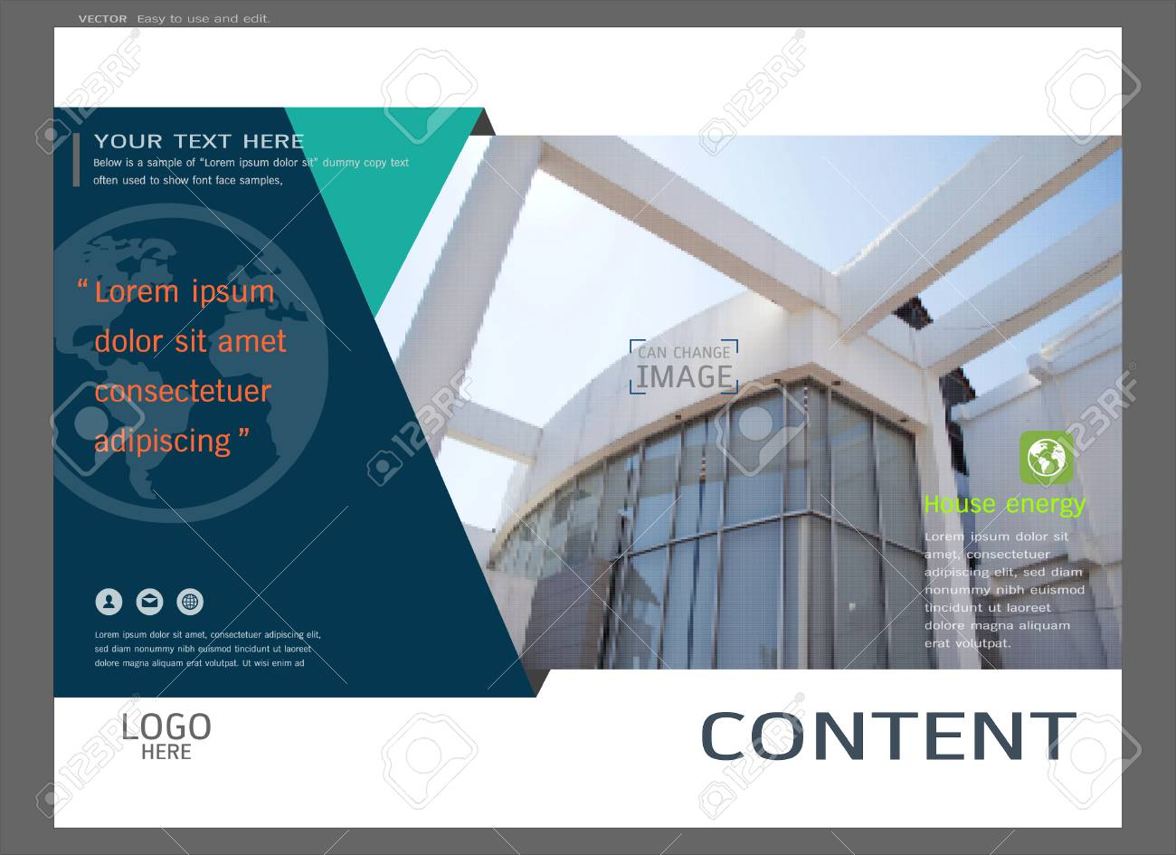 presentation layout design for real estate cover page template