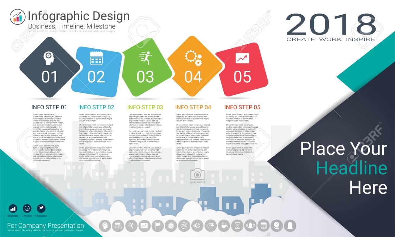 milestone timeline info graphic design road map or strategic