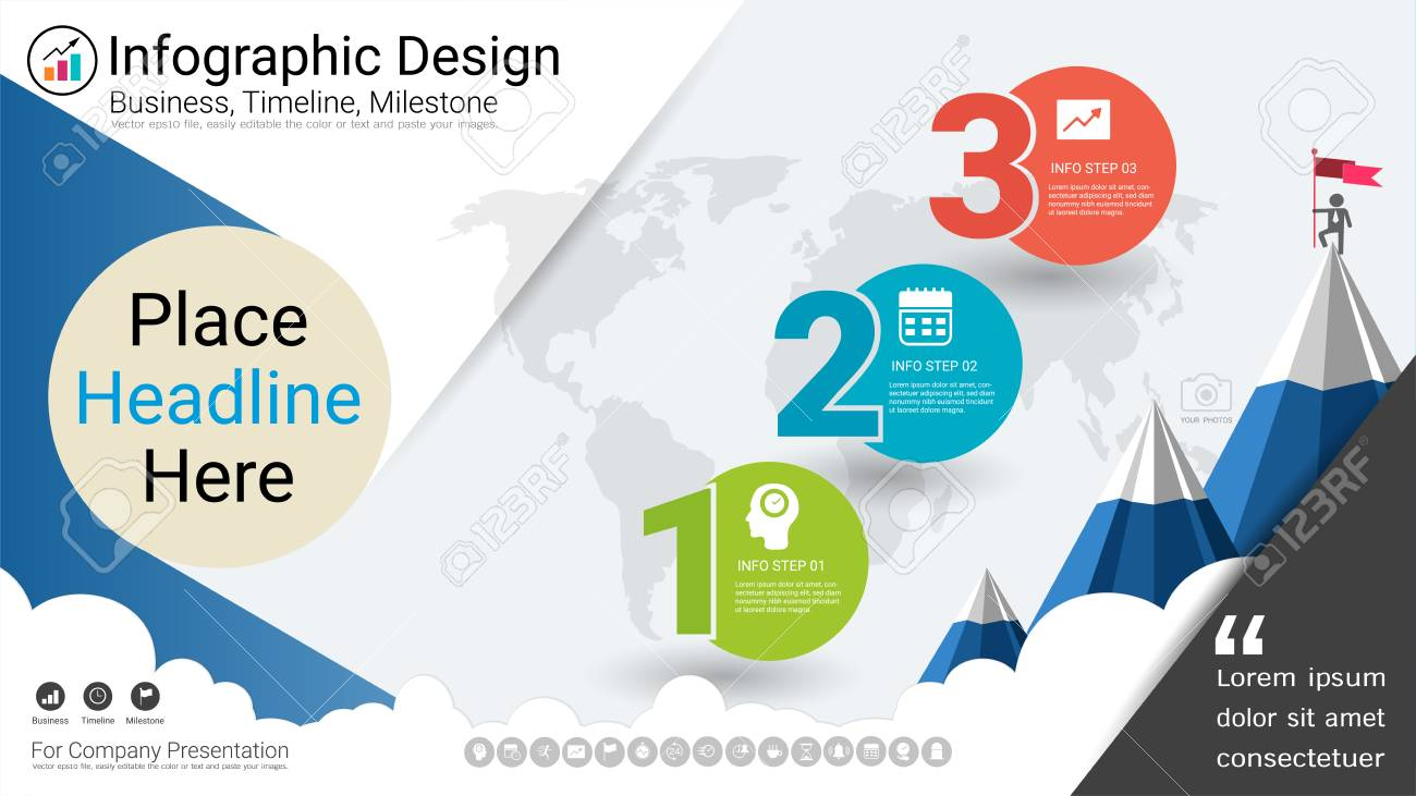 Business Infographics Report Milestone Timeline Or Road Map