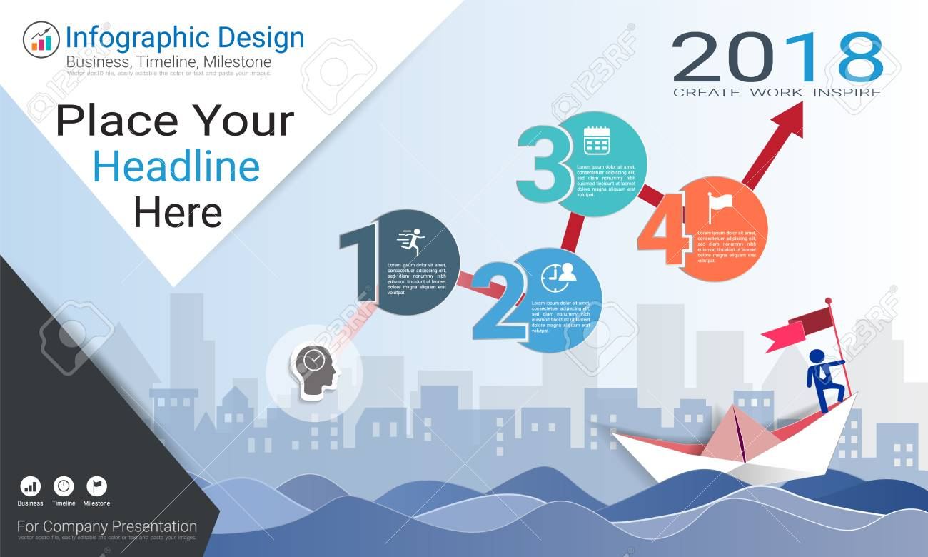 Business Infographics Template, Milestone Timeline Or Road Map ...