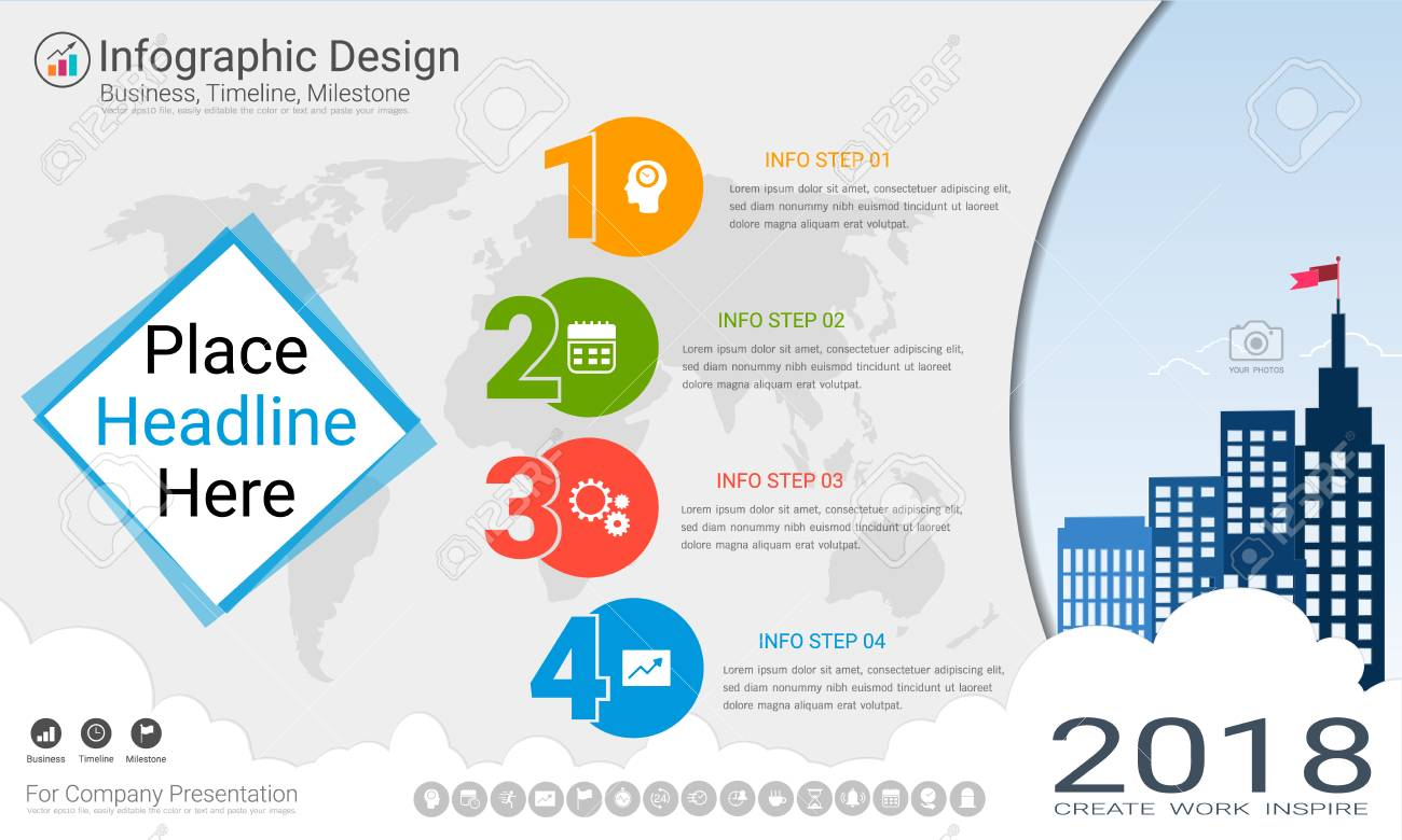business infographics template milestone timeline or road map