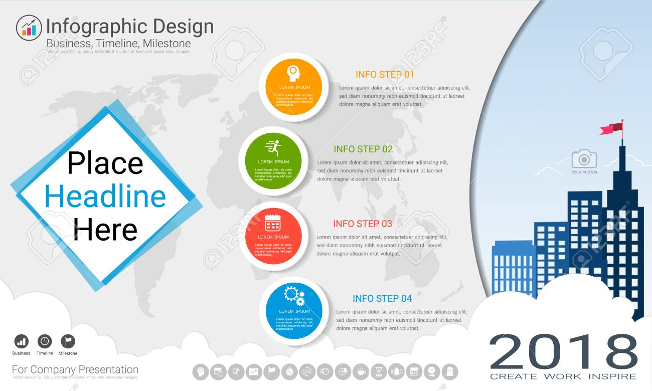 Business infographics template with Process flowchart 4 options, Strategic plan to define company values, Scheduling in project management to make facts and statistics. - 96036404