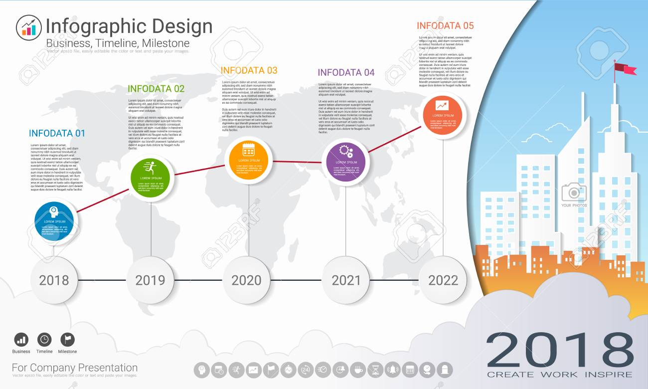 Business infographics template, Milestone timeline or Road map.. on company mission, company leadership, company registration, company goals, strategy map, company gardens map, company resources, company management, company department map, company art,