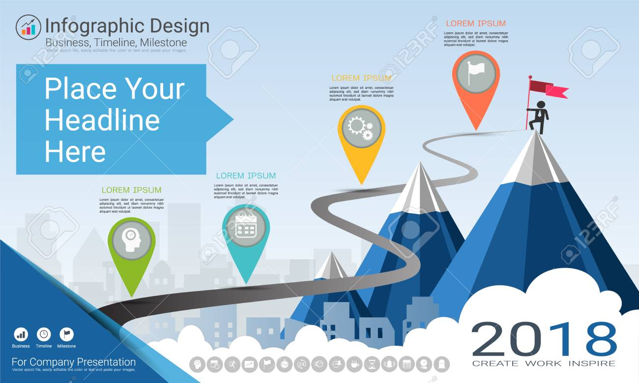 Business Infographics Template Milestone Timeline Or Road Map Process Flow Diagram Infographic For Powerpoint With Colored Flowchart Stock Vector
