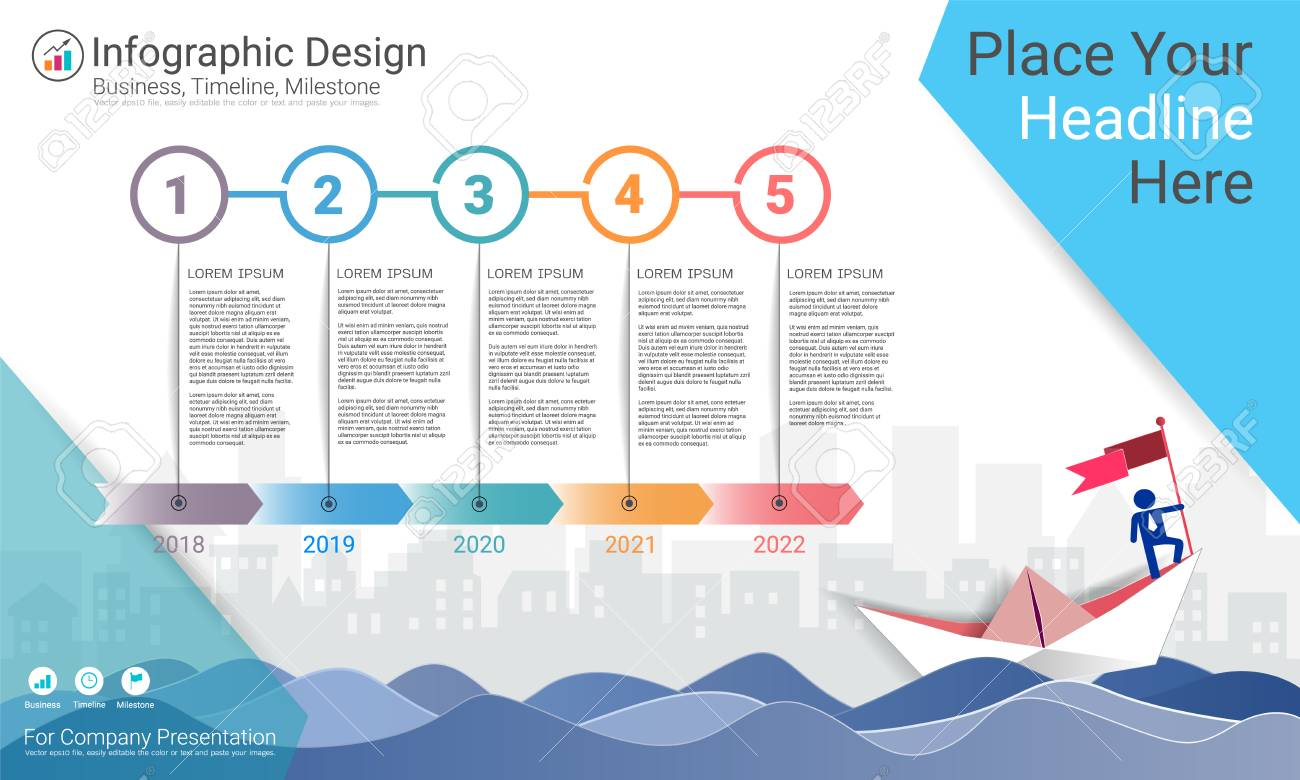 Business infographics template, Milestone timeline or Road map with Process flowchart 5 options, Strategic plan to define company values, Scheduling in project management to make facts and statistics. - 95774587
