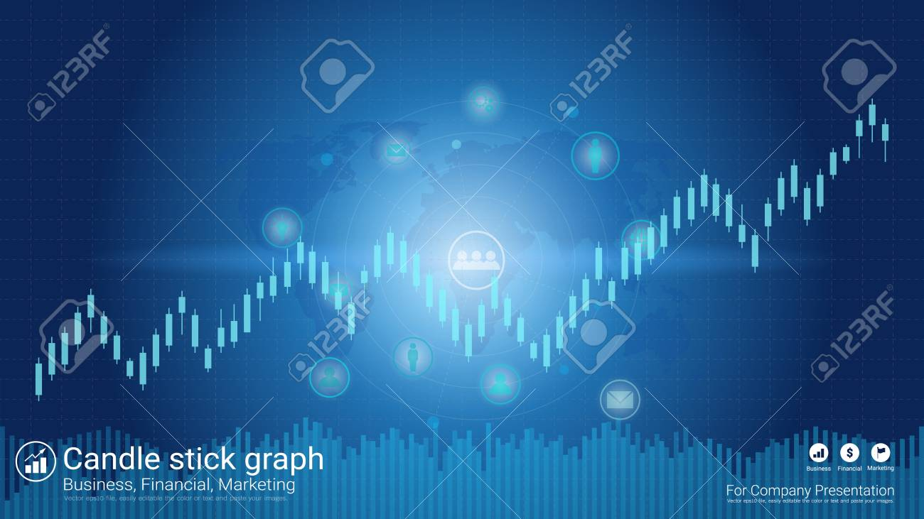 Abstract financial trading graph with candlestick chart, Business analytics and Forex stock market investment trading. - 96081627