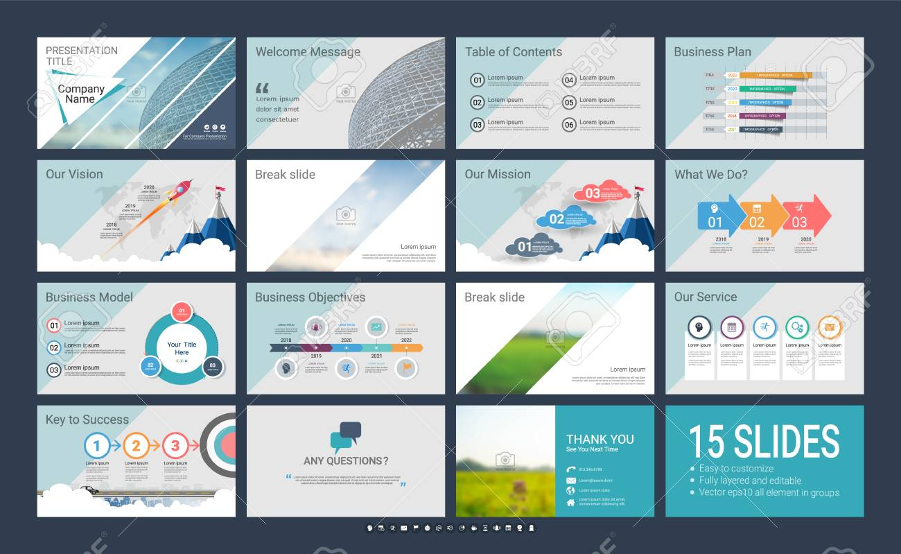 Presentation template with infographic elements, designs cover all styles, creative and formal for business presentations - 96354009