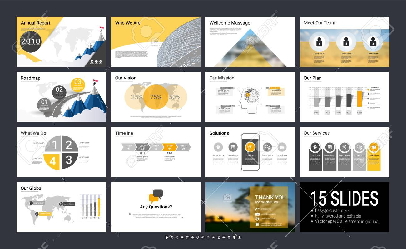 Presentation template with infographic elements, designs cover all styles and creative to formal and business presentations, flyer and leaflet, corporate report, marketing, advertising, annual report. - 95914159