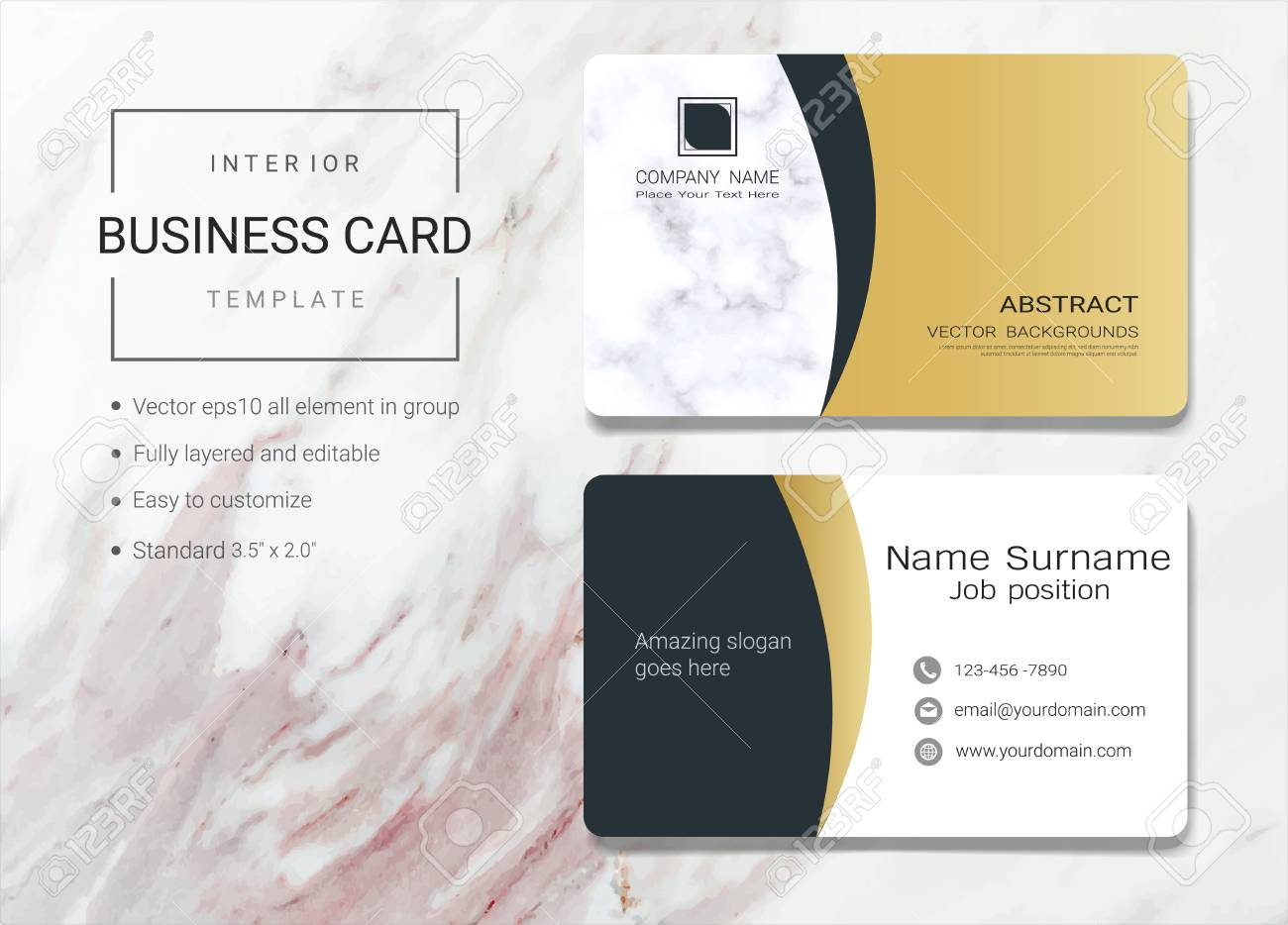 Interior business card or name card template simple style also interior business card or name card template simple style also modern and elegant with marbling accmission Images