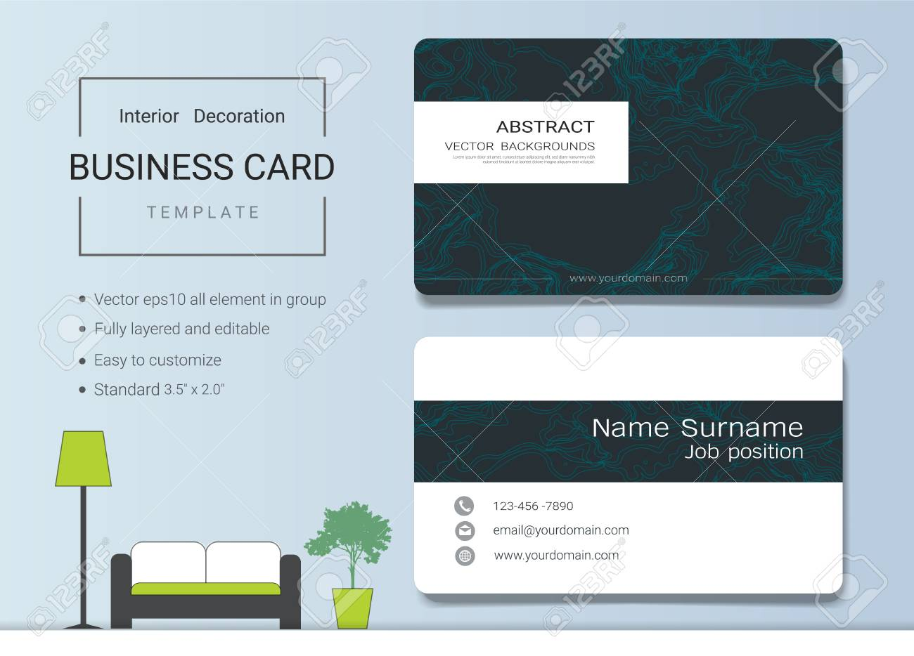 Business card or name card template for interior designer. Modern..