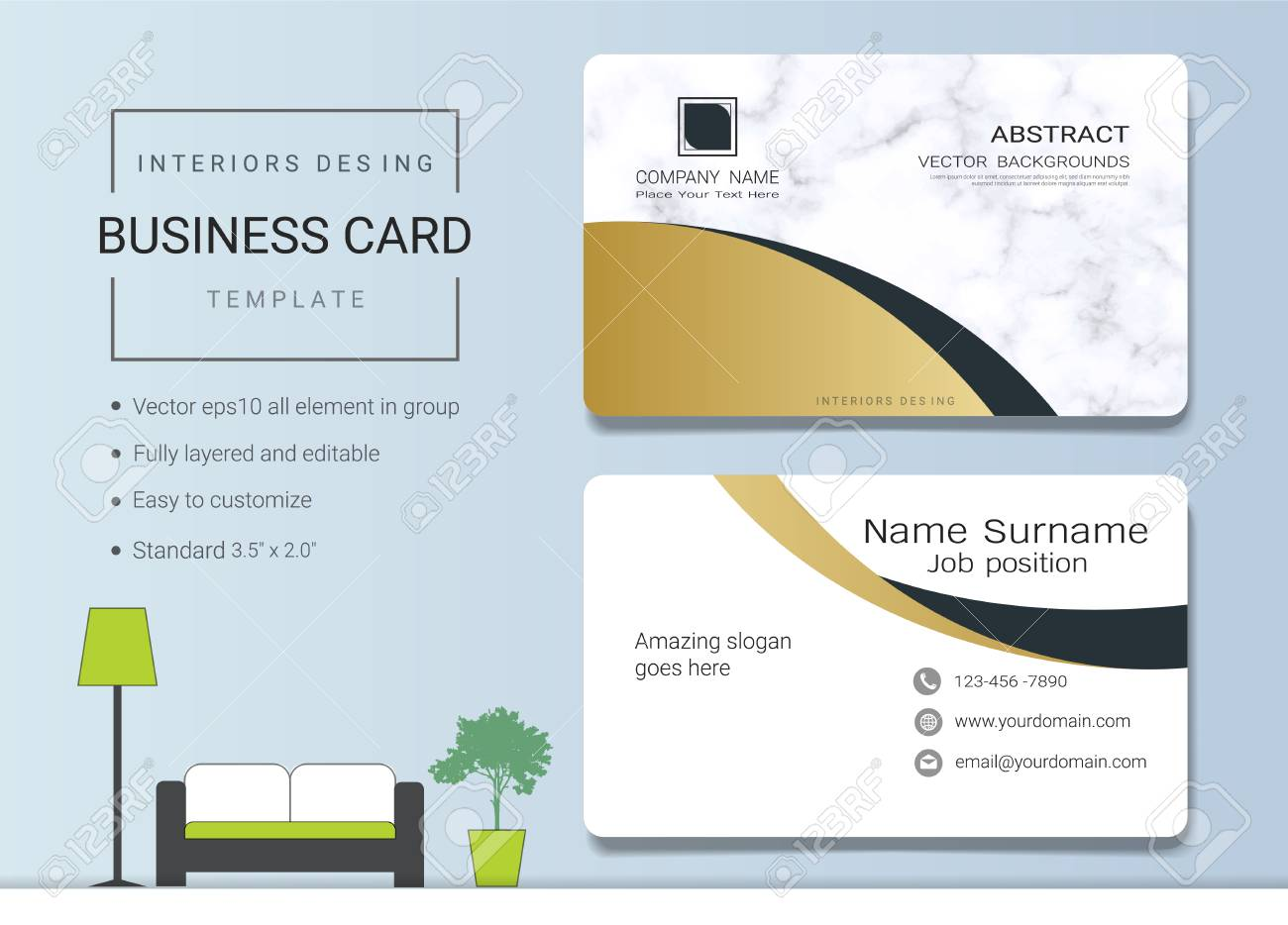 Business Card Or Name Card Template For Interior Designer Modern Royalty Free Cliparts Vectors And Stock Illustration Image 96103072