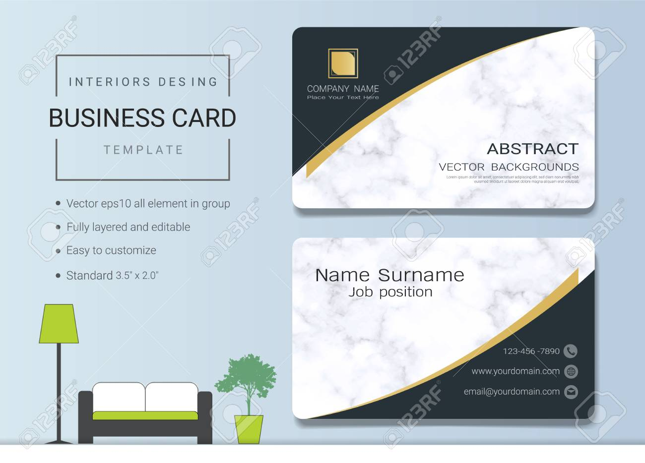 Business Card Or Name Card Template For Interior Designer Modern Royalty Free Cliparts Vectors And Stock Illustration Image 96103075